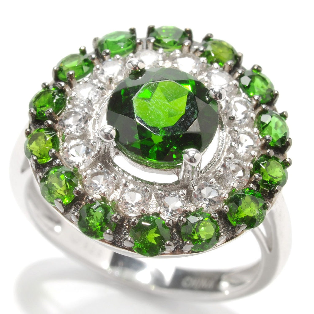 Pinctore Sterling Silver 3.18ctw Chrome Diopside Cocktail Ring - pinctore