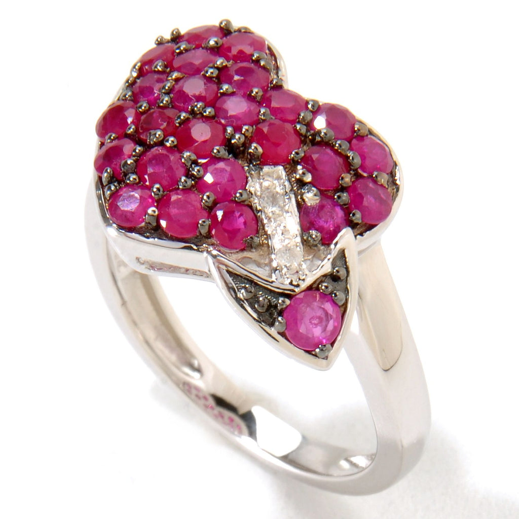 Pinctore Platinum o/Silver 1.67ctw Ruby Diamond Heart & Arrow Ring - pinctore