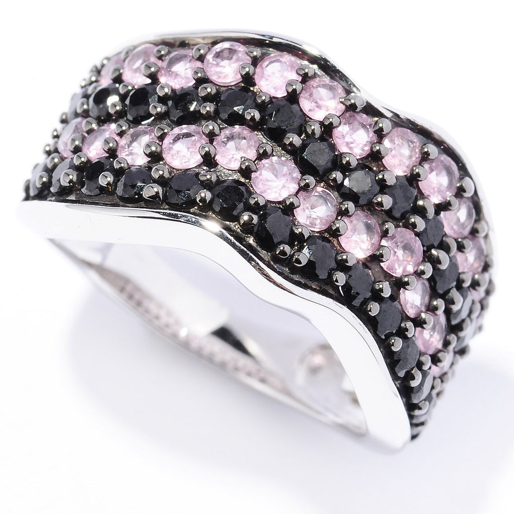 Pinctore Platinum o/Silver 2.30ctw Black Spinel Band Ring - pinctore