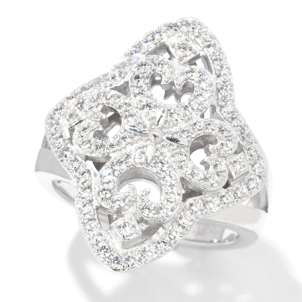 Pinctore Rhodium Over Sterling Silver 1.25ctw White CZ Cocktail Ring - pinctore