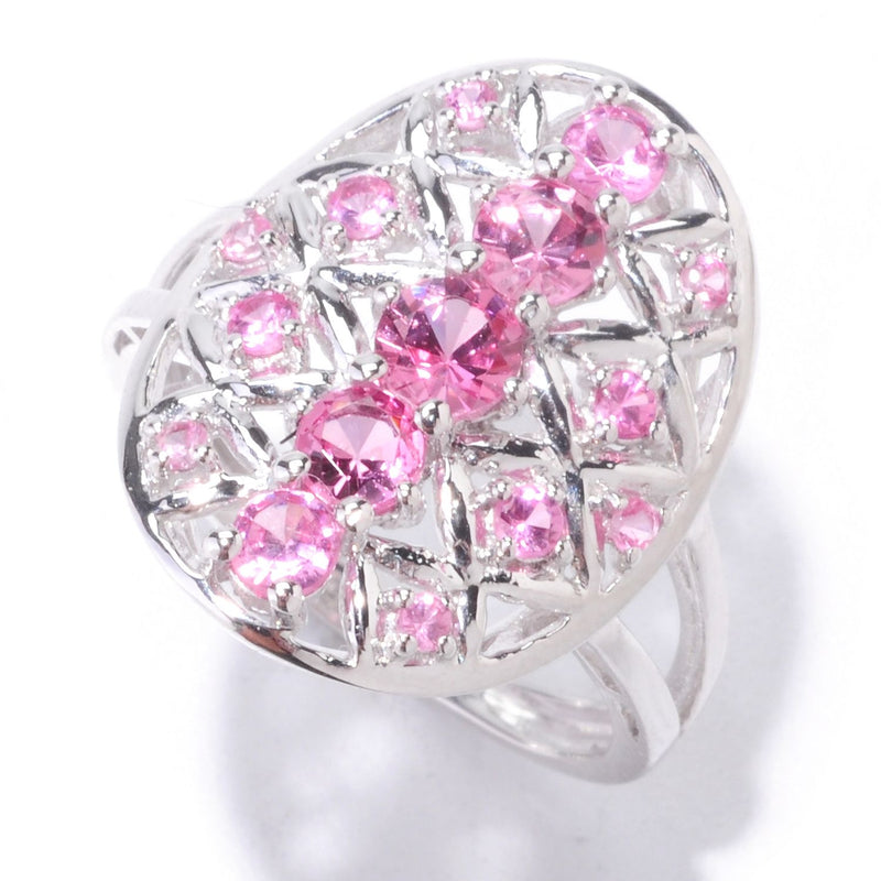 Pinctore Sterling Silver 1.11ctw Pink Spinel Cocktail Ring - pinctore