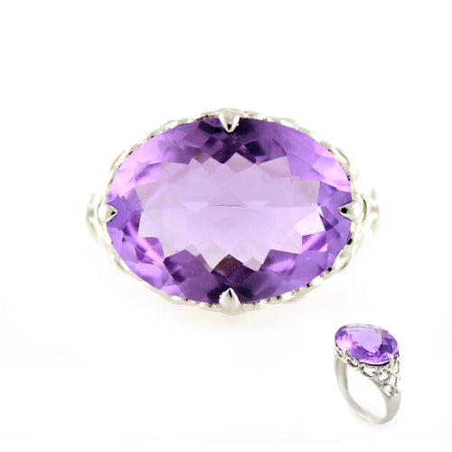 Pinctore Sterling Silver 8.52ctw African Amethyst Cocktail Ring