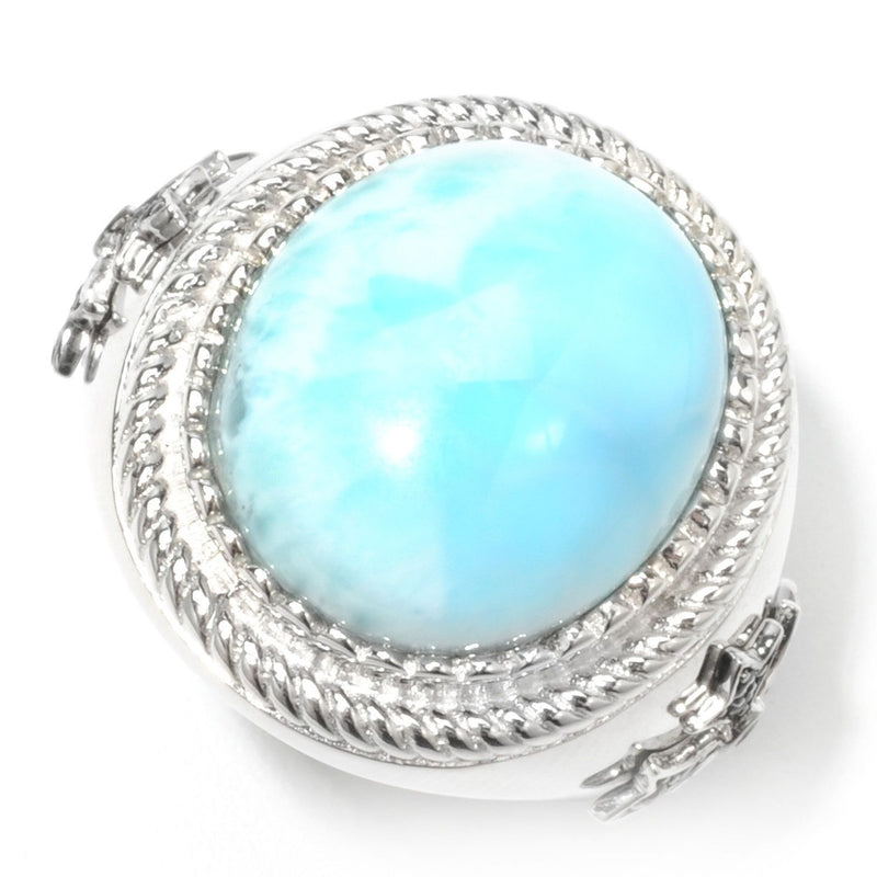 Pinctore Sterling Silver 20.37ctw Larimar Cocktail Ring - pinctore