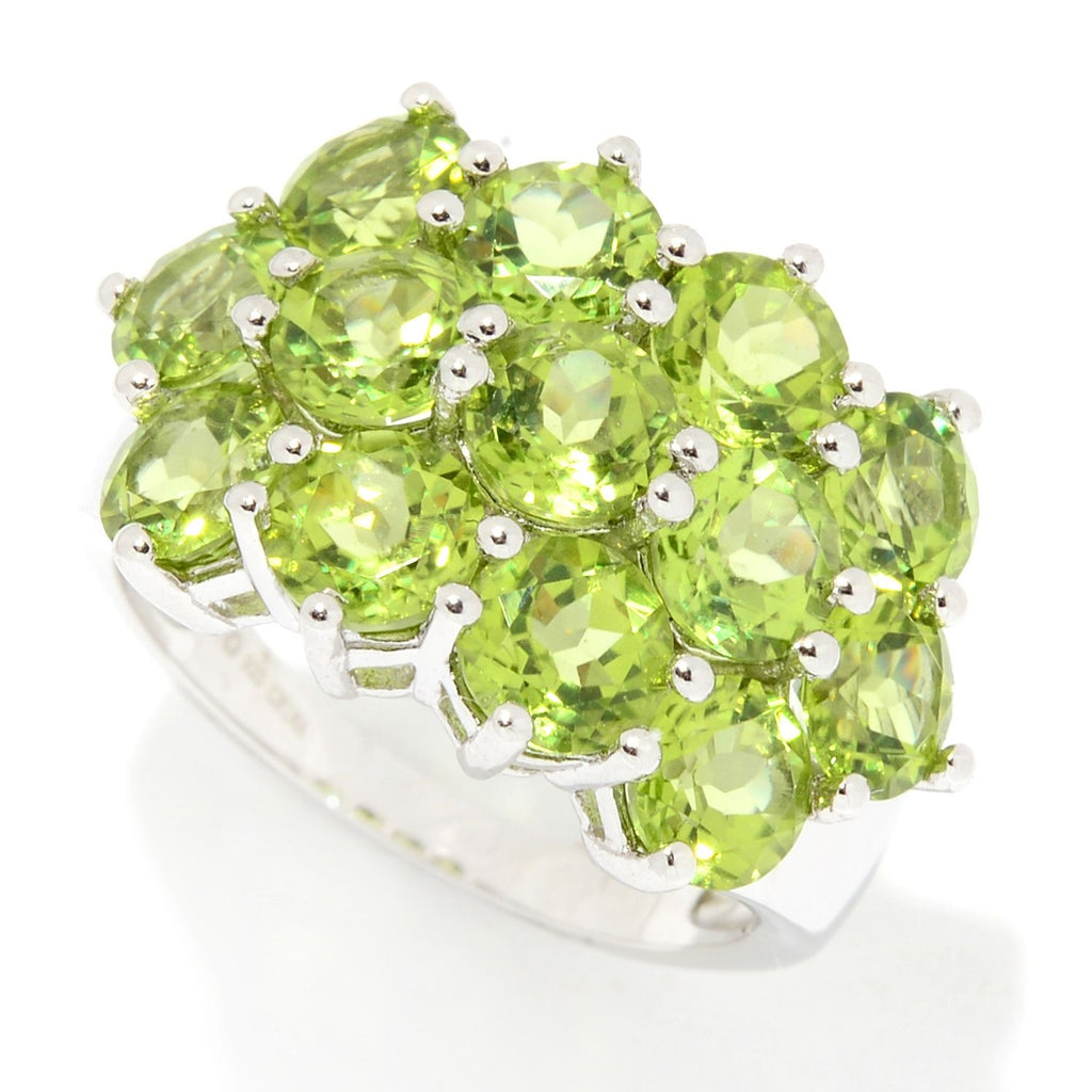 Pinctore Ster Silver Peridot Round Cut 3 Row Ring - pinctore