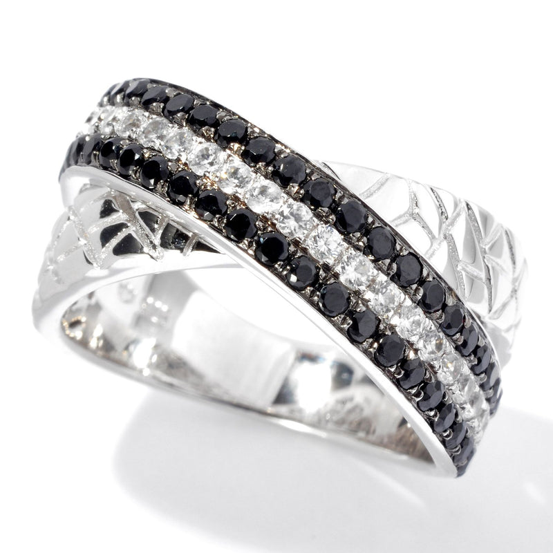 Pinctore Platinum o/Silver 1.46ctw Black Spinel & White Zircon Band Textured Ring - pinctore