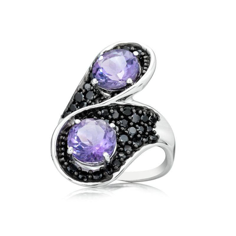 Pinctore Sterling Silver 4.93ctw African Amethyst & Black Spinel Ring - pinctore
