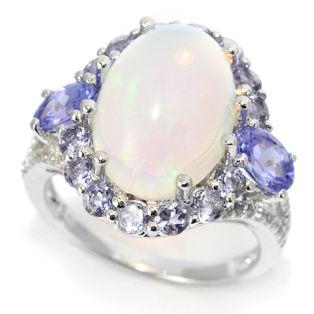 Pinctore Sterling Silver 14 x 10mm Ethiopian Opal & Multi Gemstone Halo Ring - pinctore