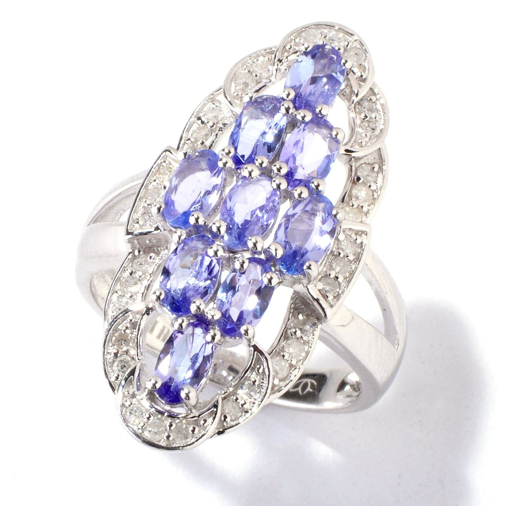 Pinctore Sterling Silver 2.06ctw Tanzanite & Diamond Elongated Cocktail Ring - pinctore