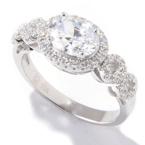 Platinum over Silver White Cubic Zirconia Ring - pinctore
