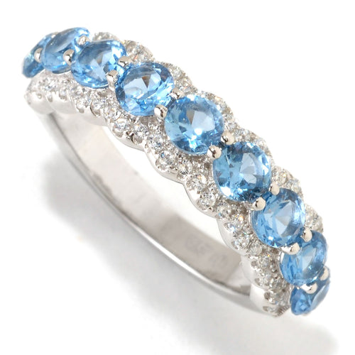 Pinctore Platinum o/Silver 1.74ctw Blue Color CZ Band Ring - pinctore