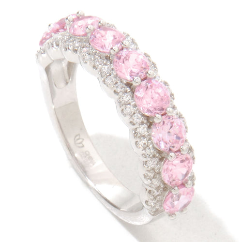 Pinctore Platinum o/Silver 1.74ctw Pink Color CZ Band Ring - pinctore