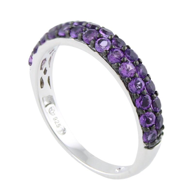 Pinctore Sterling Silver Amethyst Stack Band Ring - pinctore