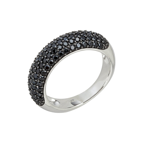 Sterling Silver Black Spinel Round Stackable Ring - pinctore