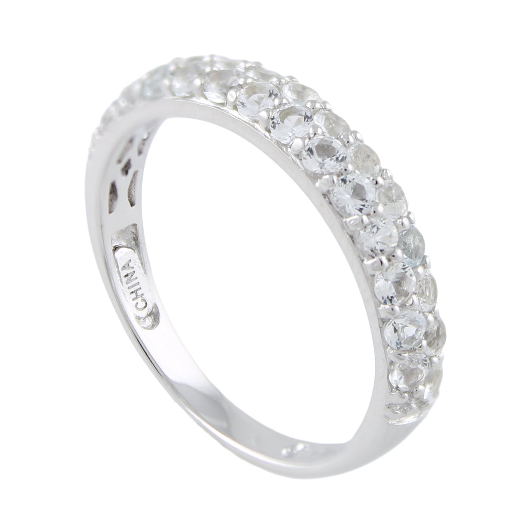 Sterling Silver White Topaz Round Stack Band Stackable Ring - pinctore