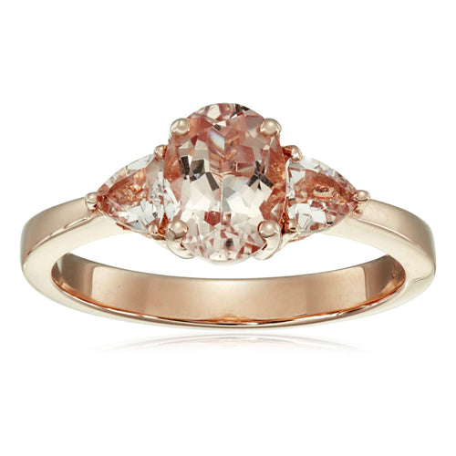 14k Rose Gold Morganite Oval and Trillion 3-Stone Ring - pinctore