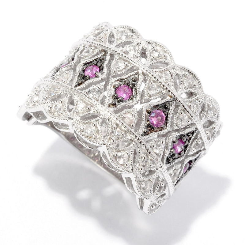 Pinctore Sterling Silver 0.95ctw Pink Sapphire & White Zircon Broad Band Ring - pinctore