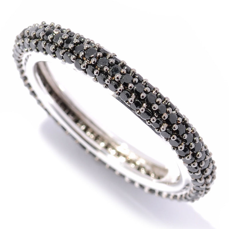 Sterling Silver Black Spinel Round Band Eternity Ring - pinctore