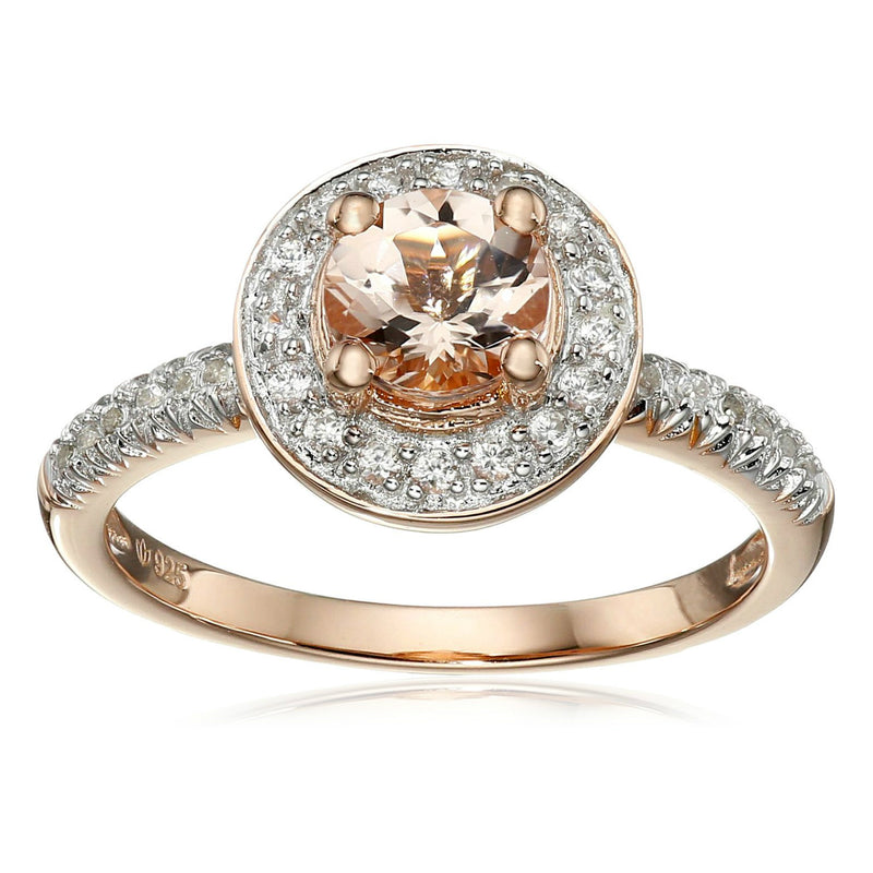 Pinctore Rose Gold-Plated Silver Morganite and Natural White Zircon Halo Ring - pinctore