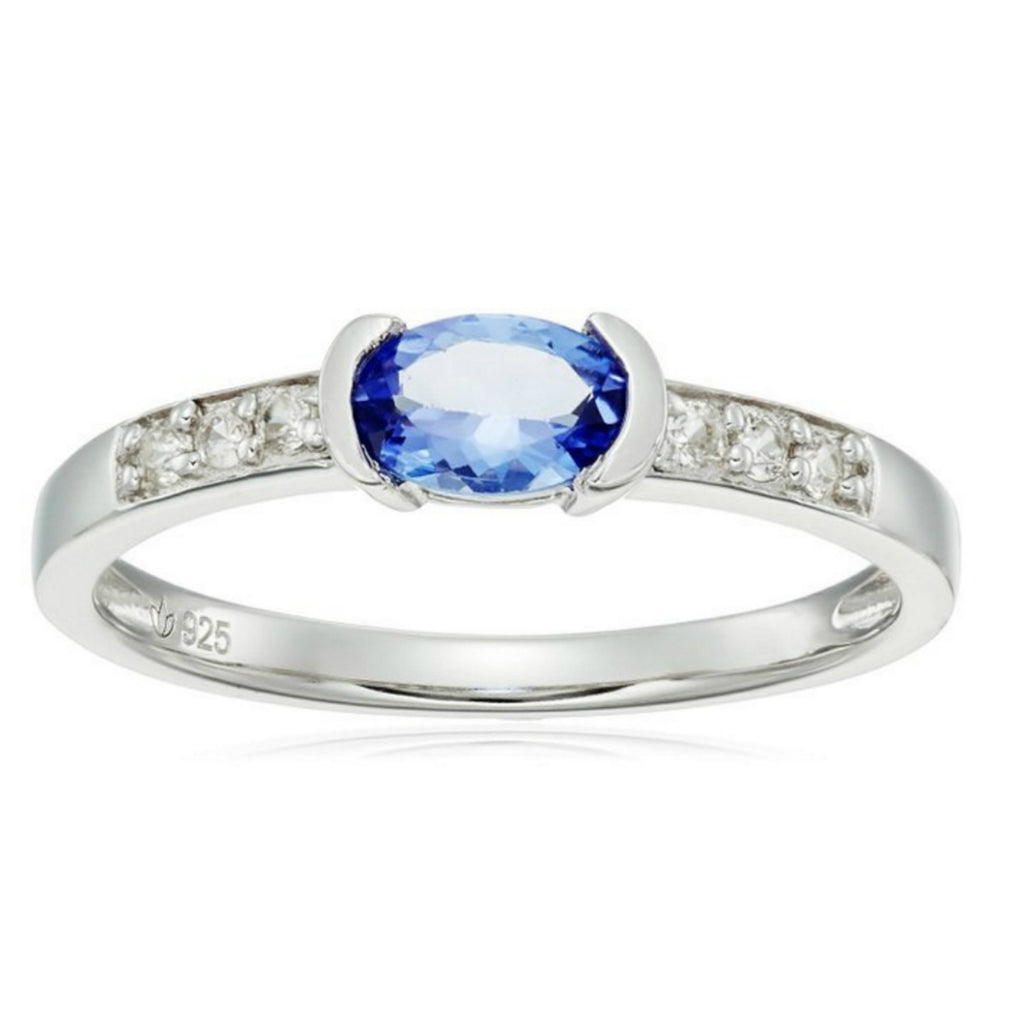 Sterling Silver Tanzanite and Natural White Zircon Ring - pinctore