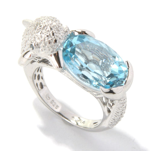 Pinctore Platinum o/Silver 7.70ctw Swiss Blue Topaz Dolphin Shaped Ring - pinctore
