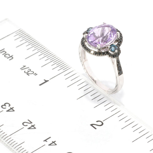 Pinctore Sterling Silver 2.87ctw African Amethyst Cocktail Ring