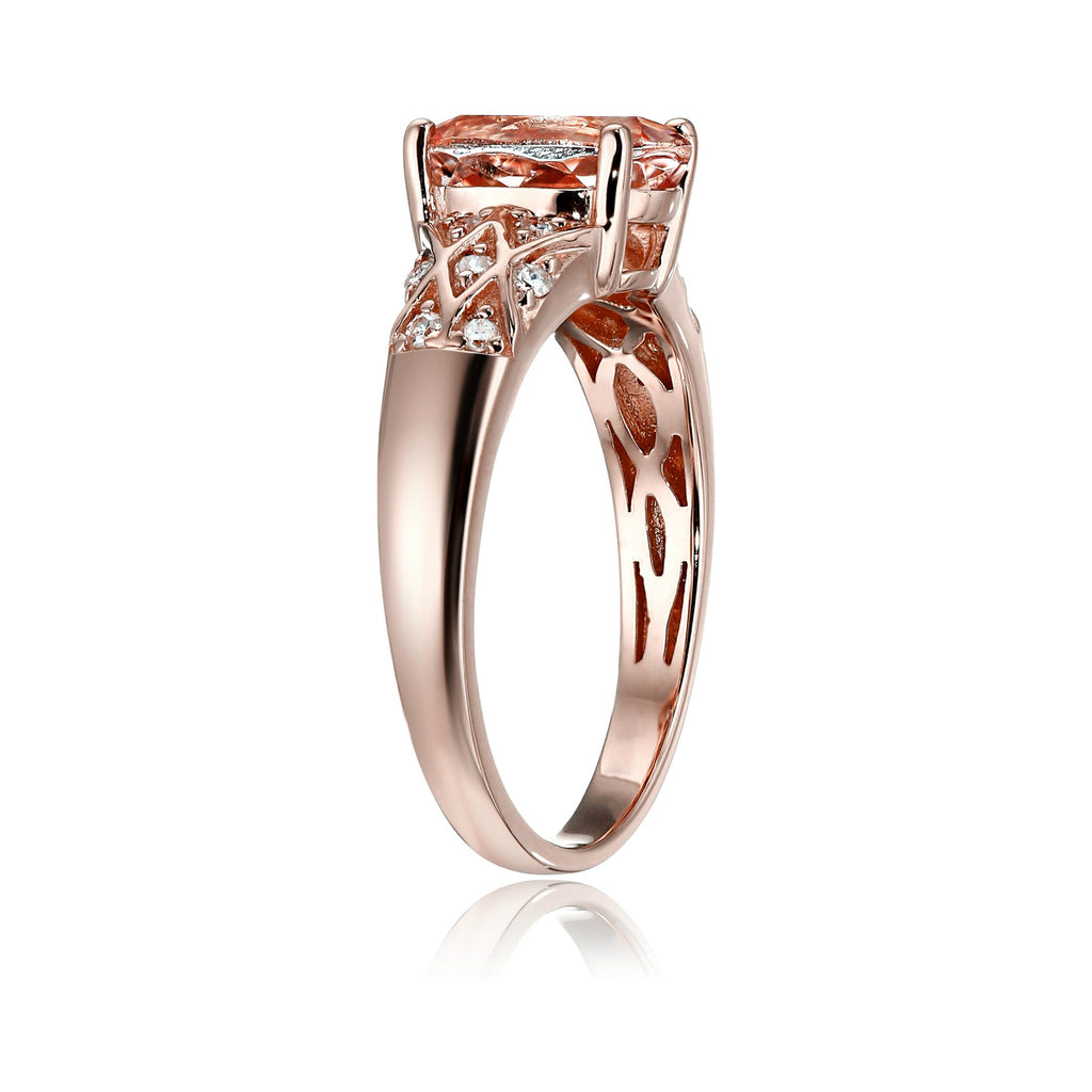 10k Rose Gold Morganite and Diamond Solitaire Engagement Ring (1/8cttw, H-I Color, I1-I2 Clarity), - pinctore
