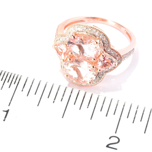 Pinctore 18K Rose Vermeil 2.83ctw Dual Shaped Morganite,White Zircon Cocktail Ring - pinctore