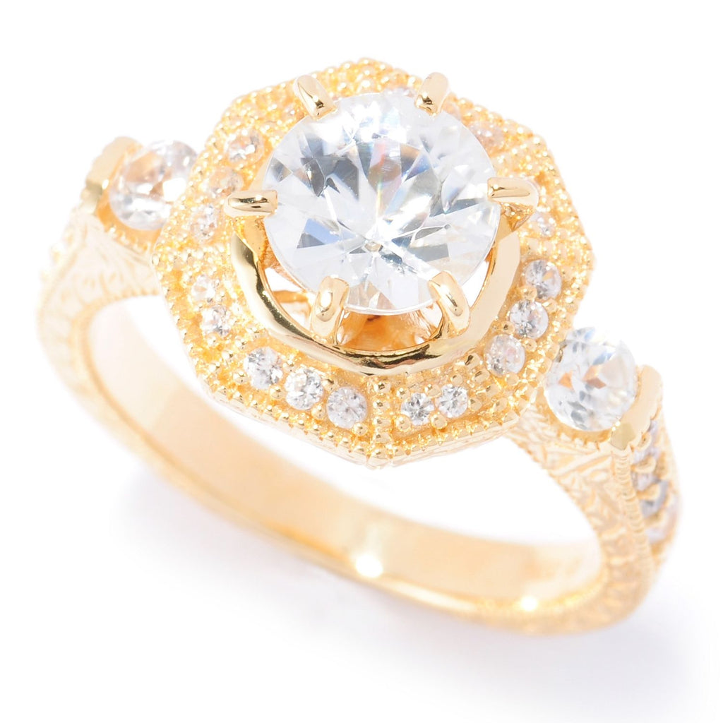 Pinctore 18K Yellow Gold Silver 2.77ctw White Natural Zircon Cocktail Ring - pinctore