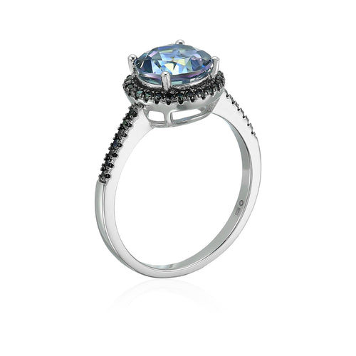 Sterling Silver Millennium Topaz And Black Spinel Halo Engagement Ring - pinctore