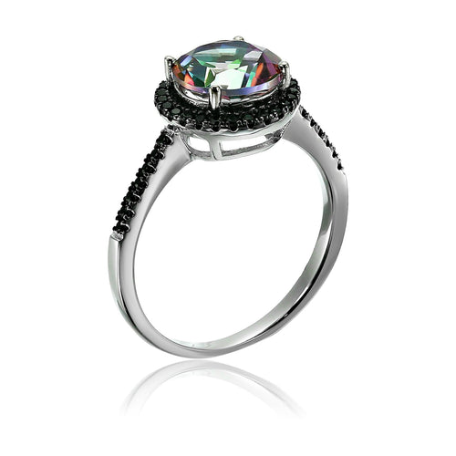 Sterling Silver Mystic Topaz and Black Spinel Halo Engagement Ring - pinctore