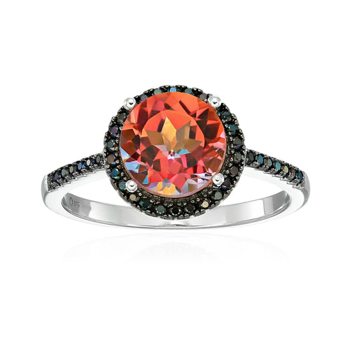 Sterling Silver Sunset Orange Topaz And Black Spinel Halo Engagement Ring - pinctore