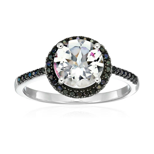 Pinctore Ster Silver White Topaz & Black Spinel Halo Engagement Ring - pinctore