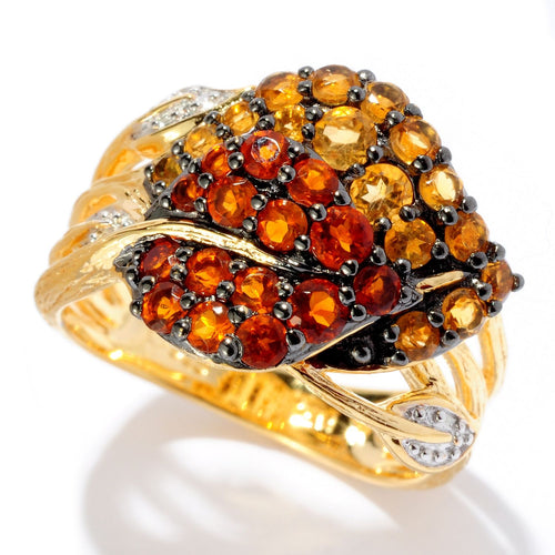 Pinctore 18K Yellow Gold Silver 1.20ctw Madeira & Golden Citrine Double Leaf Ring - pinctore