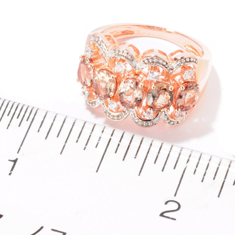 Pinctore 18K Rose Gold Over Silver 2.18ctw Change Color Garnet Band Ring - pinctore