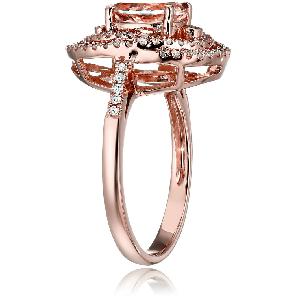 10k Rose Gold Morganite and Diamond Double Swirl Halo Oval Engagement Ring (1/3cttw, H-I Color, I1-I2 Clarity), - pinctore