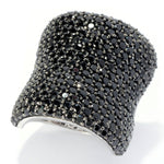 Pinctore Sterling Silver 6.94ctw Black Spinel Wide Band Ring - pinctore