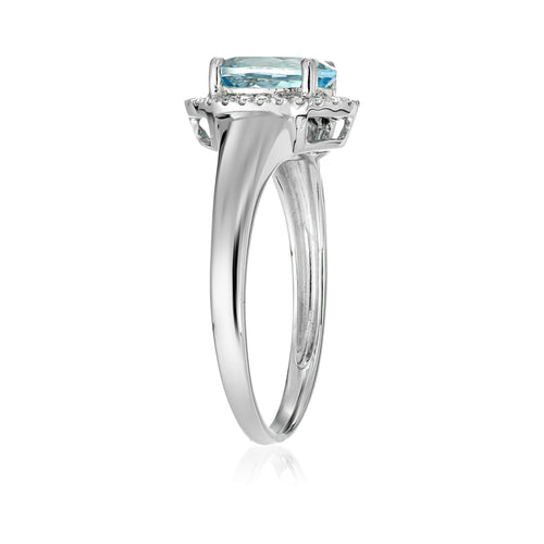 Pinctore 10k WT Gold Aquamarine & Diamond Princess Diana Engagement Ring - pinctore