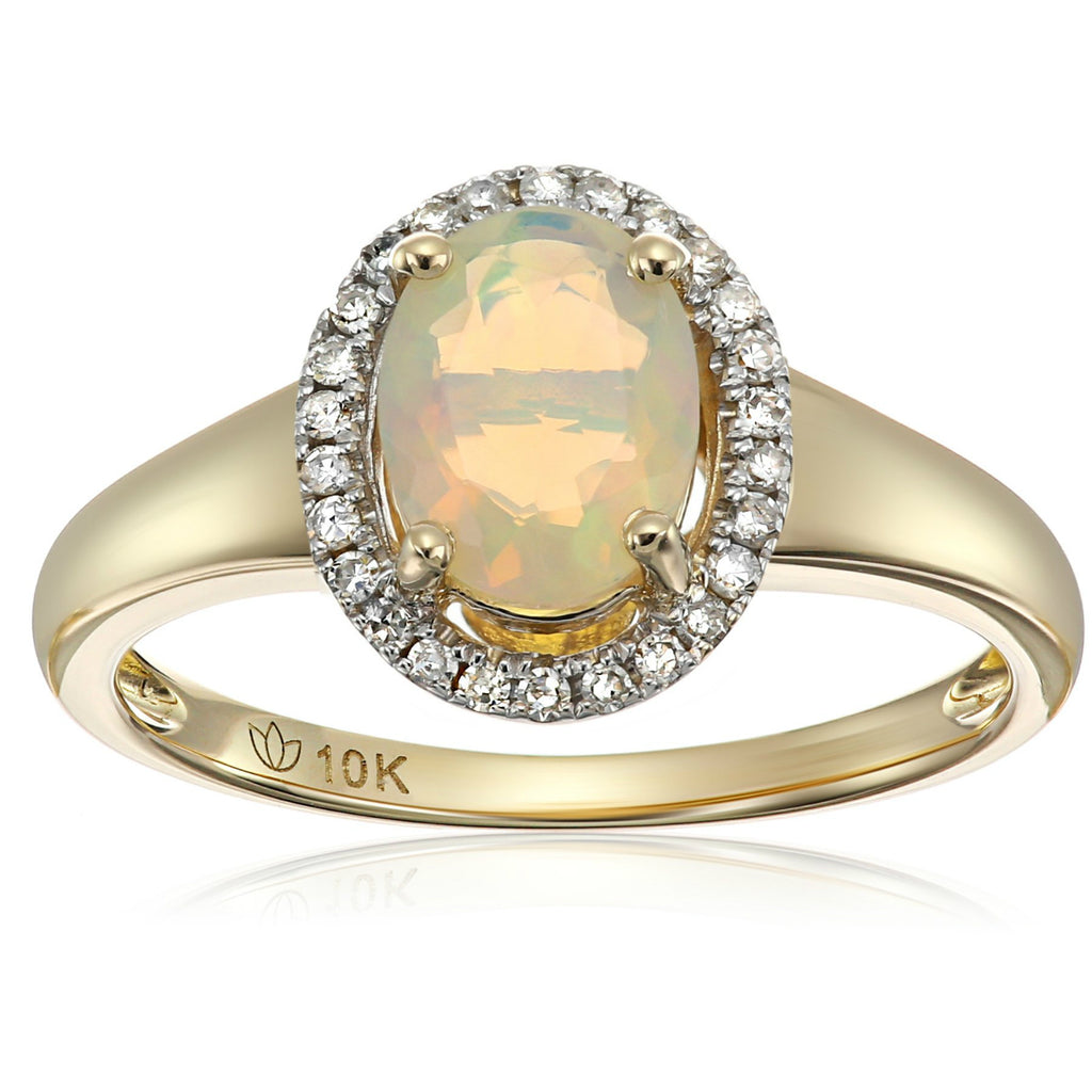 10k Yellow Gold Ethiopian Opal and Diamond Princess Diana Oval Halo Engagement Ring (1/10cttw, H-I Color, I1-I2 Clarity), - pinctore