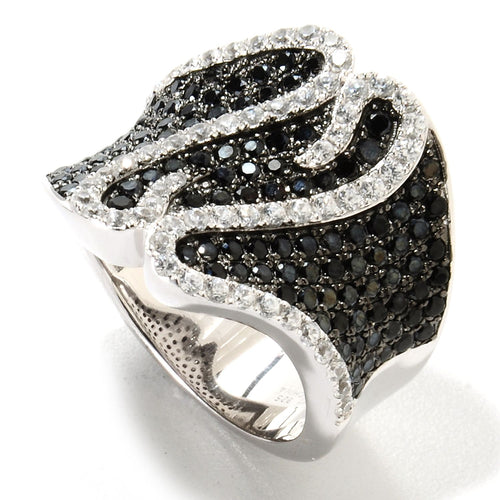 Pinctore Rhodium Over Sterling Silver 2.99ctw Black Spinel Cocktail Ring - pinctore