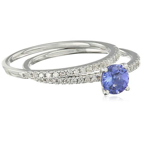 10k White Gold AAA Tanzanite And Diamond Stackable Ring (1/5cttw, H-I Color, I1-I2 Clarity), - pinctore