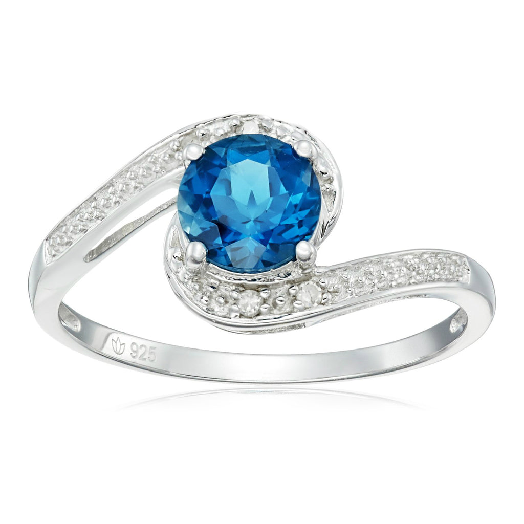 Pinctore Sterling Silver London Blue Topaz and Diamond Solitaire Ring - pinctore