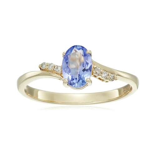 Pinctore 10k Yellow Gold Tanzanite and Diamond Classic Ring - pinctore