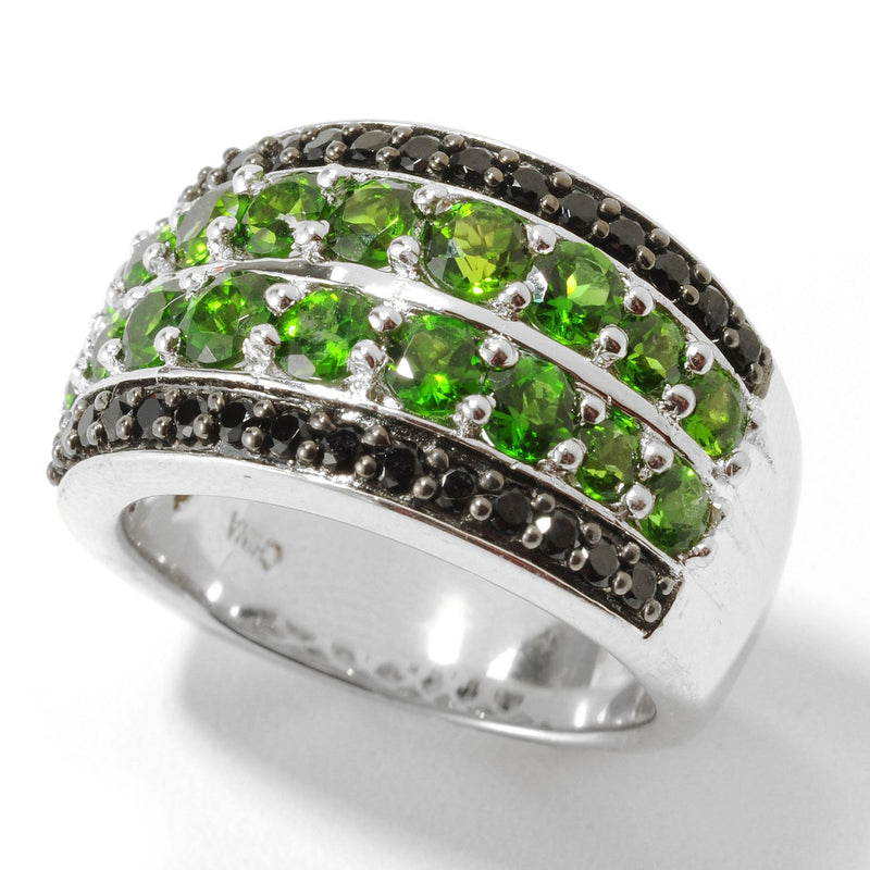 Pinctore Sterling Silver 2.52ctw Chrome Diopside & Black Spinel Broad Band Ring - pinctore