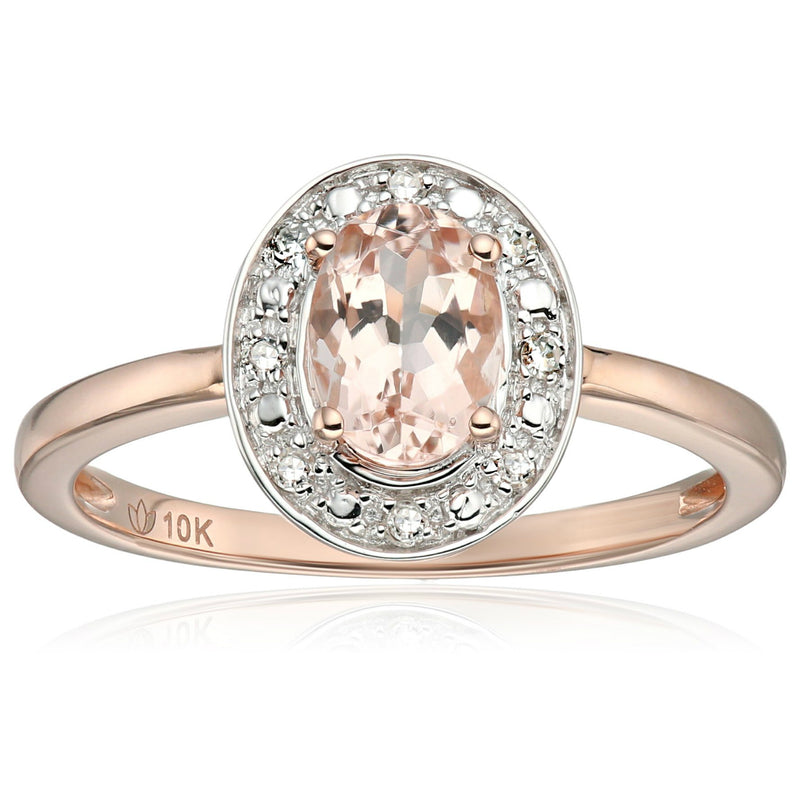 Pinctore 10k Rose Gold Morganite and Diamond Accented Classic Princess Di Halo Engagement Ring - pinctore