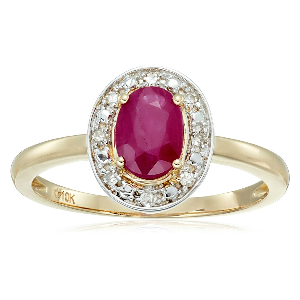 Pinctore 10k Yellow Gold, Ruby & Diamond Classic Princess Di Halo Ring - pinctore