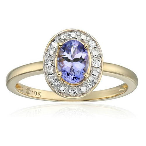 Pinctore 10k Yellow Gold Tanzanite Diamond Classic Halo Engagement Ring - pinctore