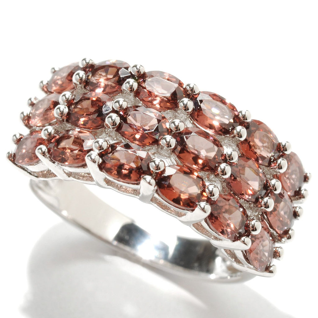 Pinctore Rhodium Over Sterling Silver 4.30ctw Raspberry Zircon Cluster Ring - pinctore
