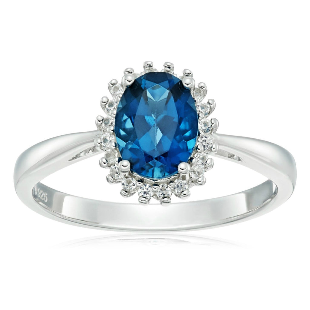 Sterling Silver London Blue Topaz and Created White Sapphire Classic Princess Di Halo Ring - pinctore