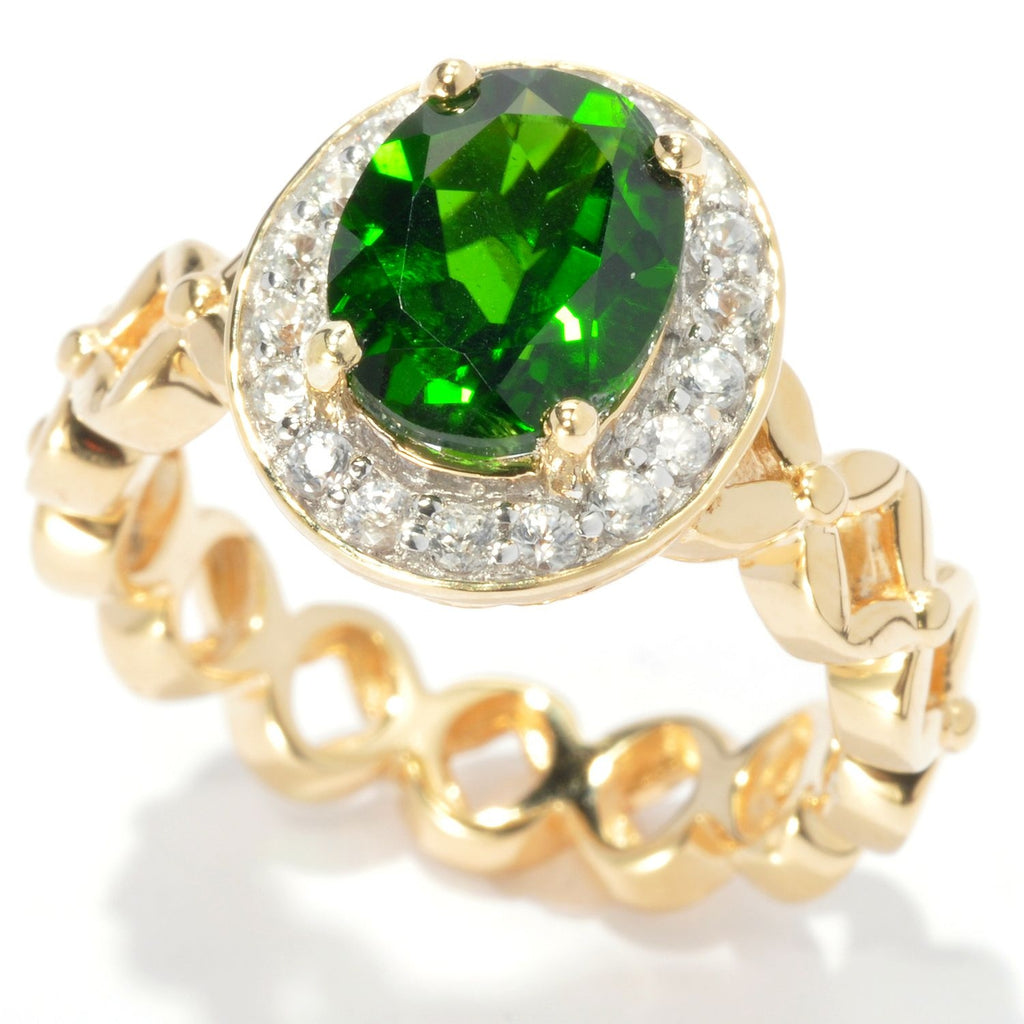 Pinctore 18K Yellow Gold Silver 2.74ctw Chrome Diopside Solitaire w/Accent Ring - pinctore