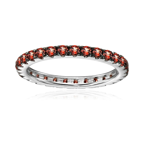 Sterling Silver Red Garnet Eternity Band Ring - pinctore